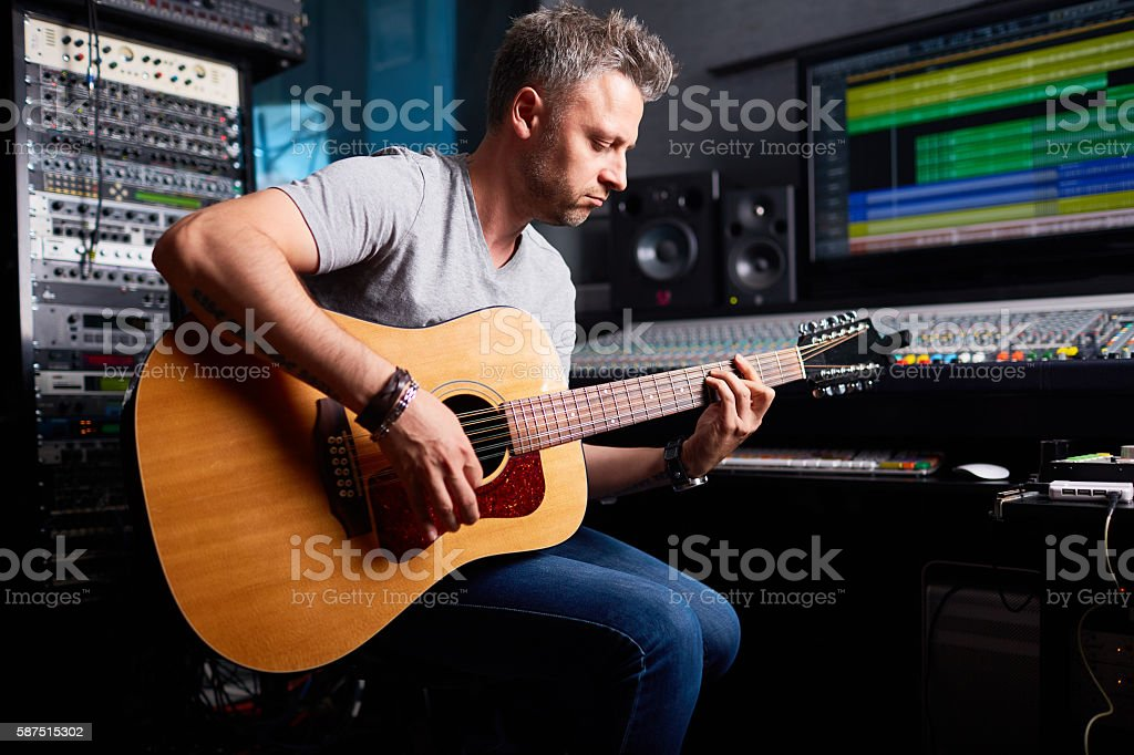 Recording music stock photo