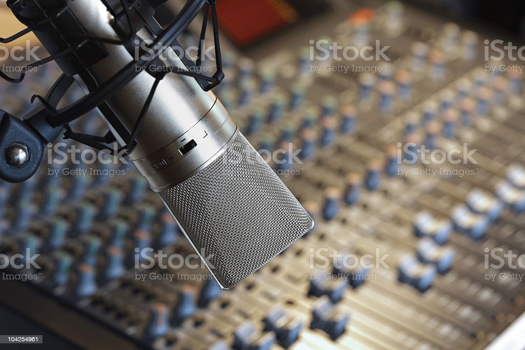 Recording studio microphone stock photo