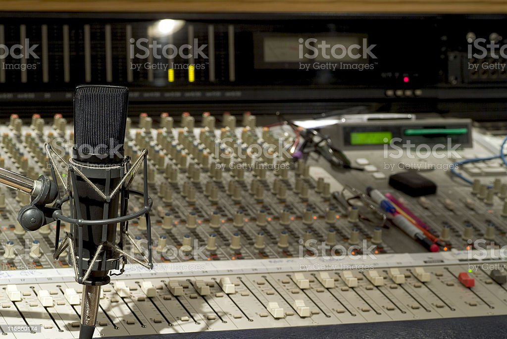 Recording studio microphone with soundboard background stock photo