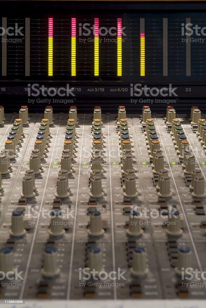 Recording studio mixing desk stock photo