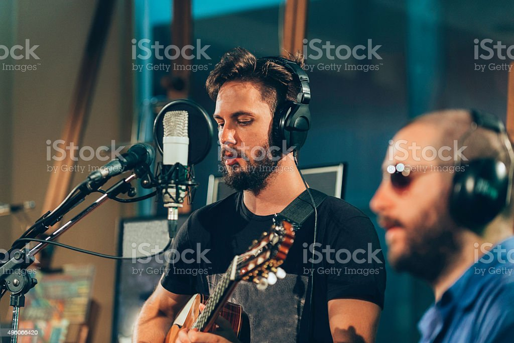 Recording studio musicians stock photo