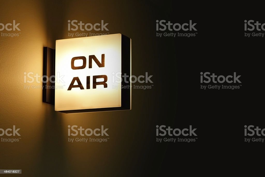 Recording Studio 'On Air' Warning Light Glowing stock photo