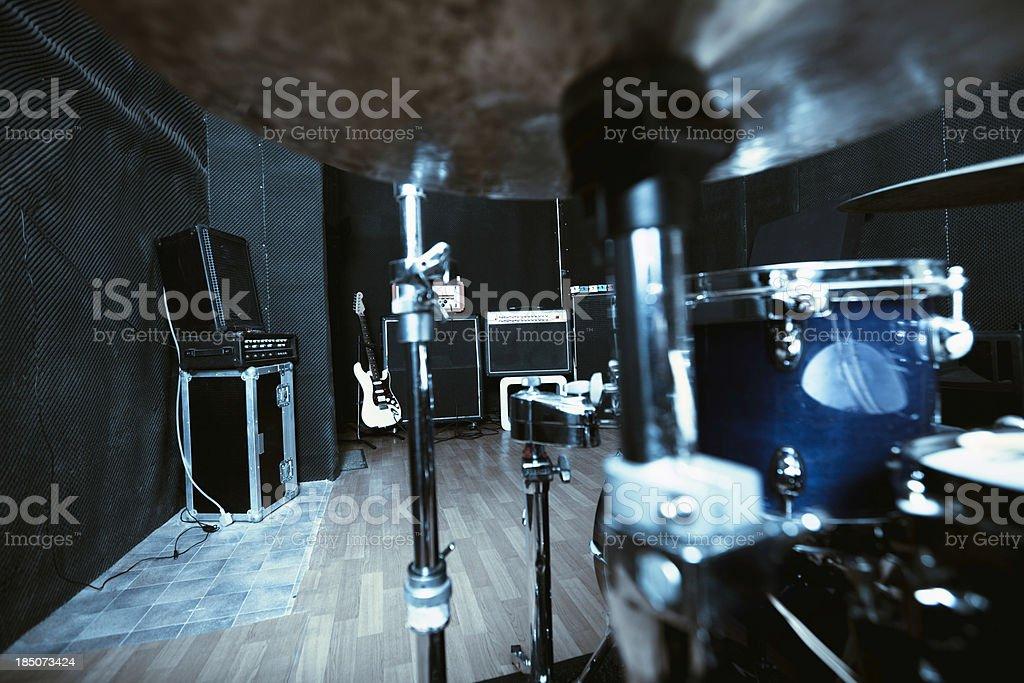 Recording studio series: view through drums stock photo