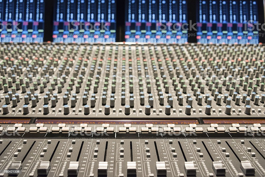 Recording studio with mixing console. royalty-free stock photo