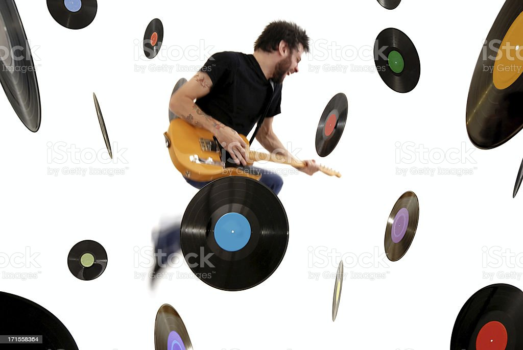 Records and Guitar stock photo