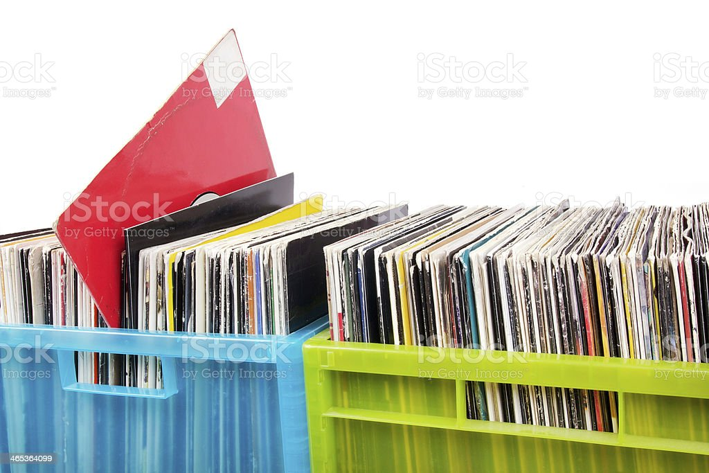 Records in two plastic boxes stock photo