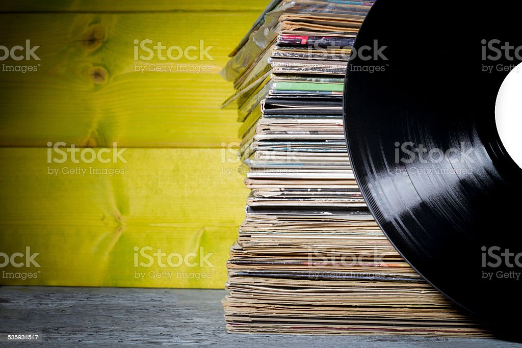 Records Stacked stock photo