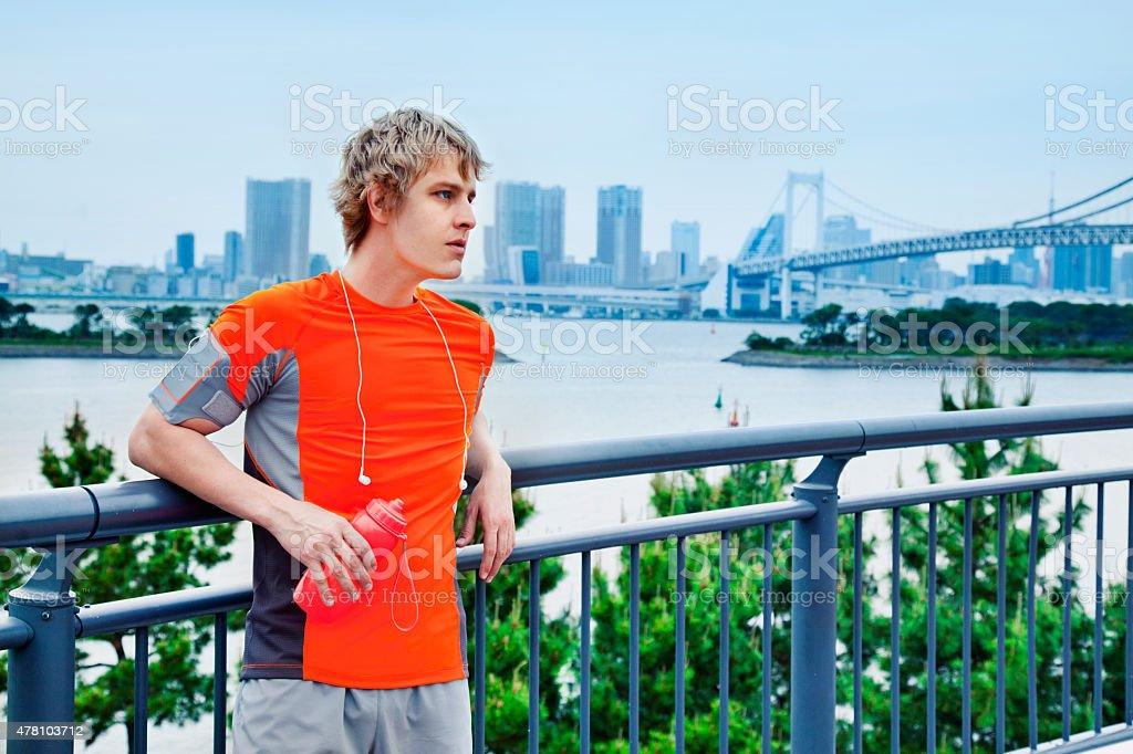 Recovering after jogging stock photo