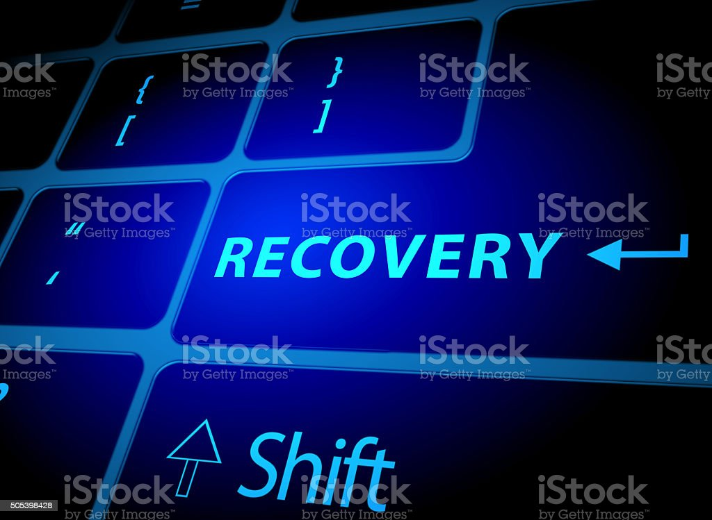 Recovery button on computer keyboard stock photo