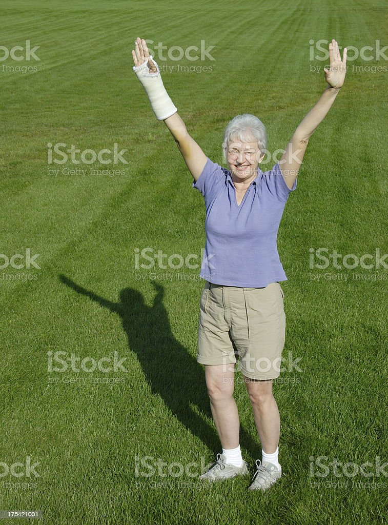 Recovery: Healing Woman with Injured Arm stock photo