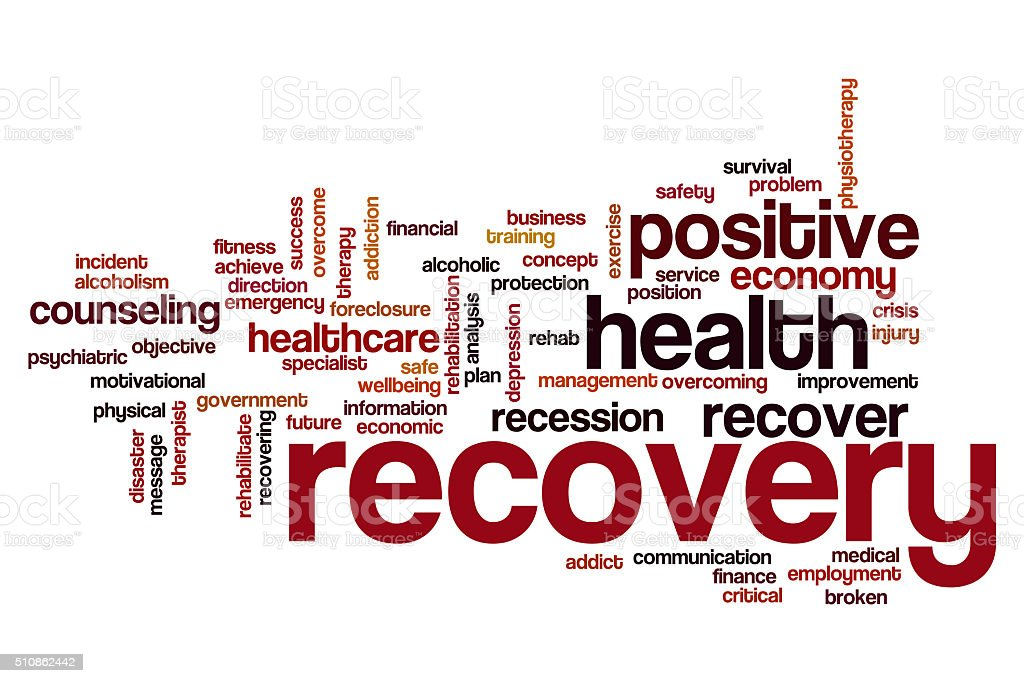 Recovery word cloud concept stock photo