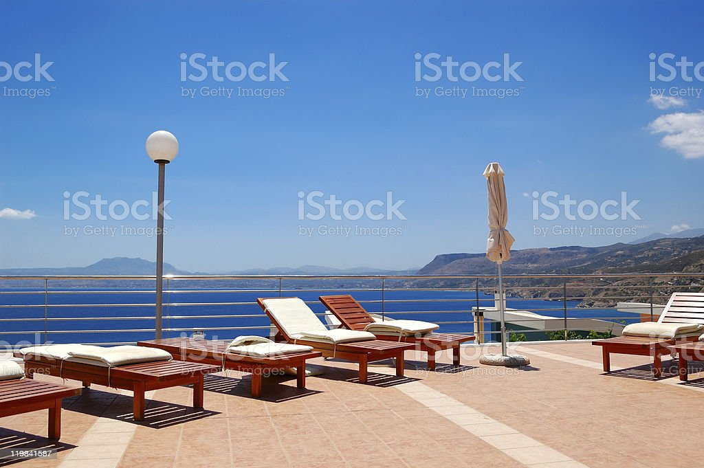 Recreation area by luxury villa, Crete, Greece royalty-free stock photo