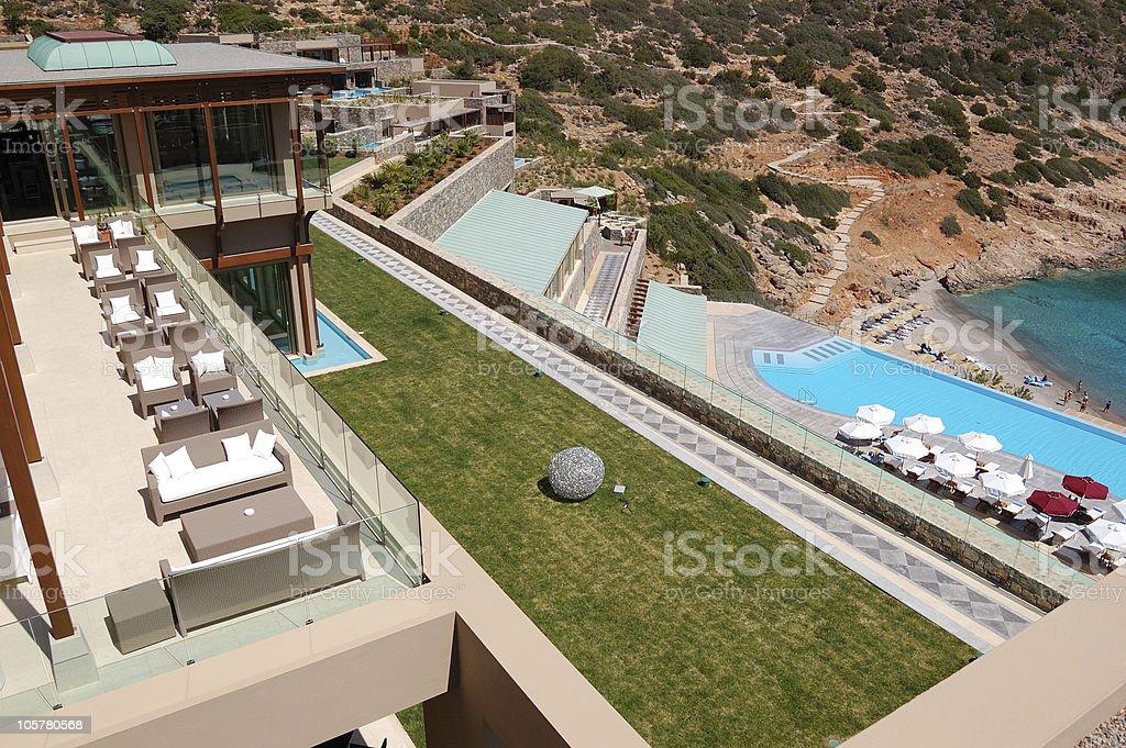 Recreation area of luxury hotel, Crete, Greece royalty-free stock photo