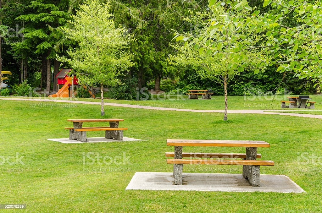 Recreation Area with Picnic Tables in Whistler, British Columbia,...
