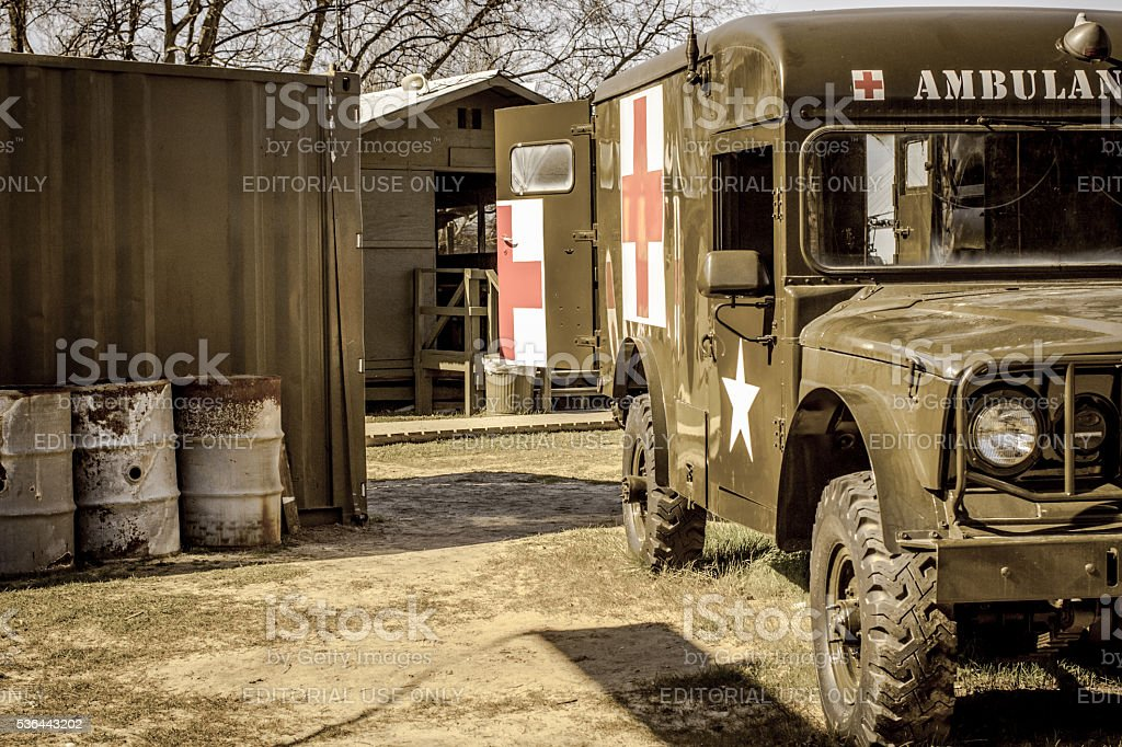 Recreation Of US Army War Camp stock photo