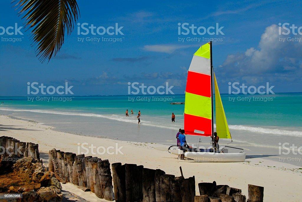 Recreation on tropical Kiwenga  beach in Zanzibar,Tanzania. royalty-free stock photo