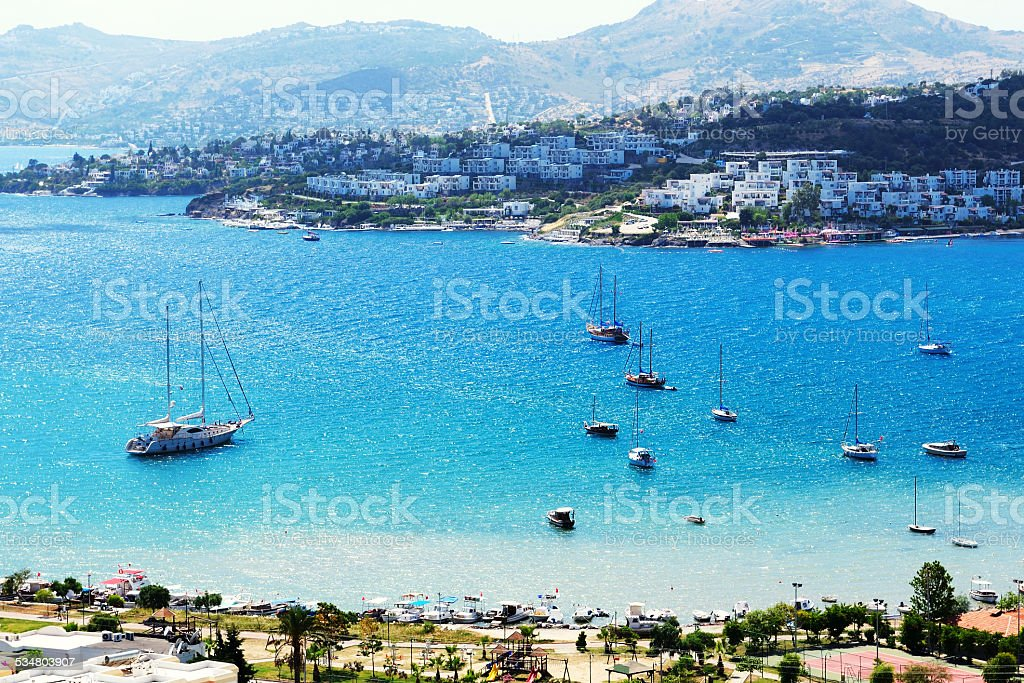Recreation yachts near beach on Turkish resort, Bodrum, Turkey stock photo