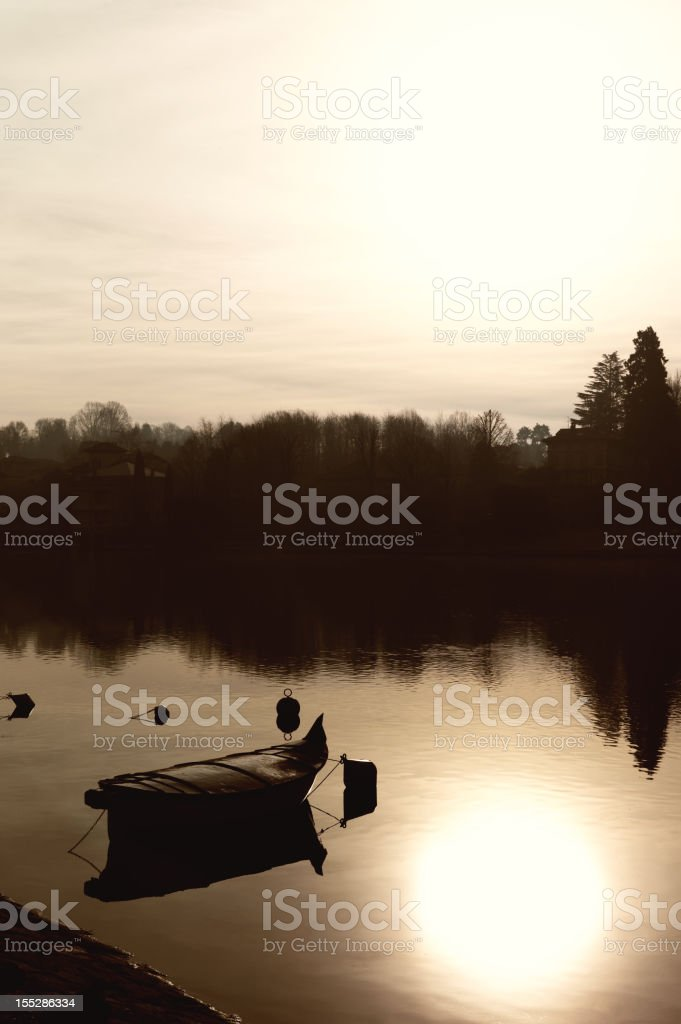 Recreational Boat at the morning. Sepia Tone stock photo