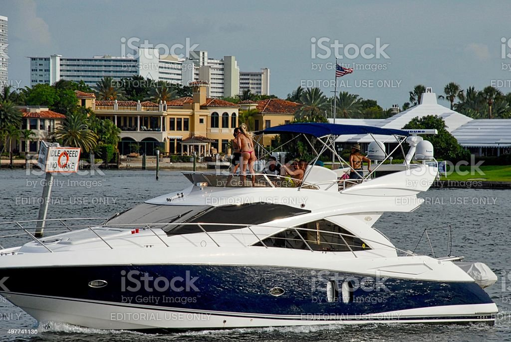 Recreational boaters enjoy an afternoon on the water stock photo