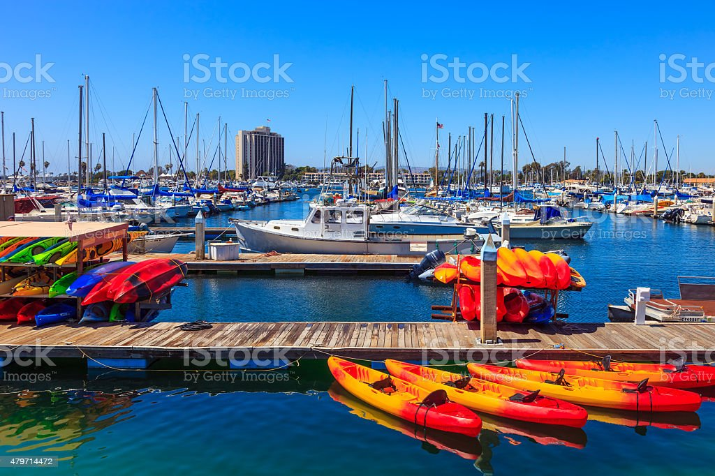 Recreational boats at Mission Bay, San Diego, CA stock photo