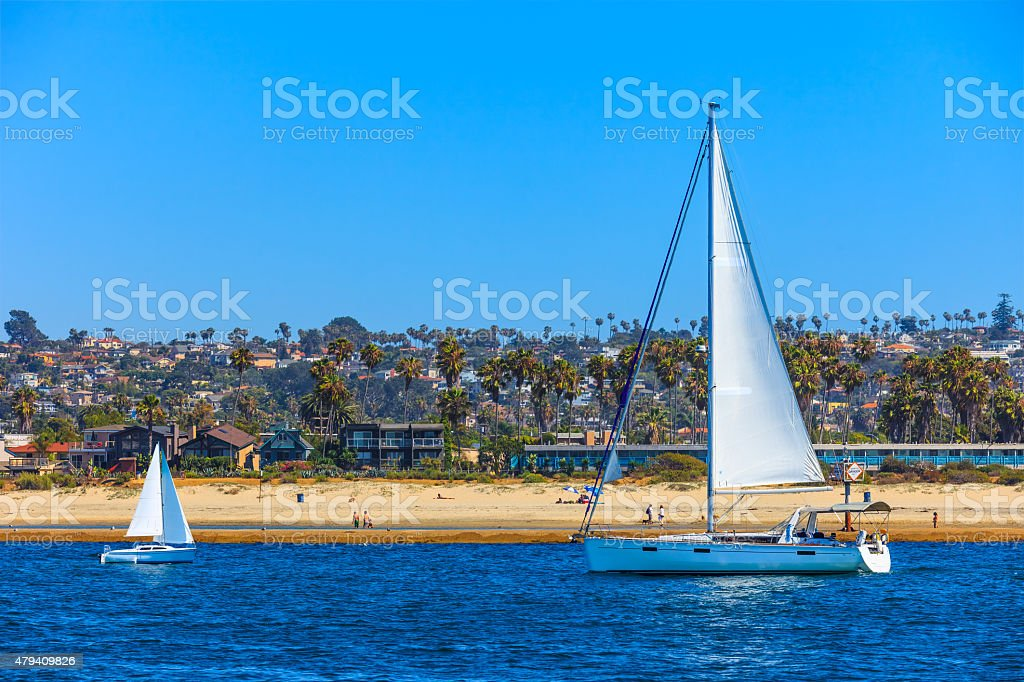 Recreational boats on Mission Bay, San Diego Calif. stock photo