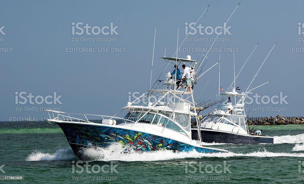 Recreational Fishing Boats along Gulf Coast stock photo