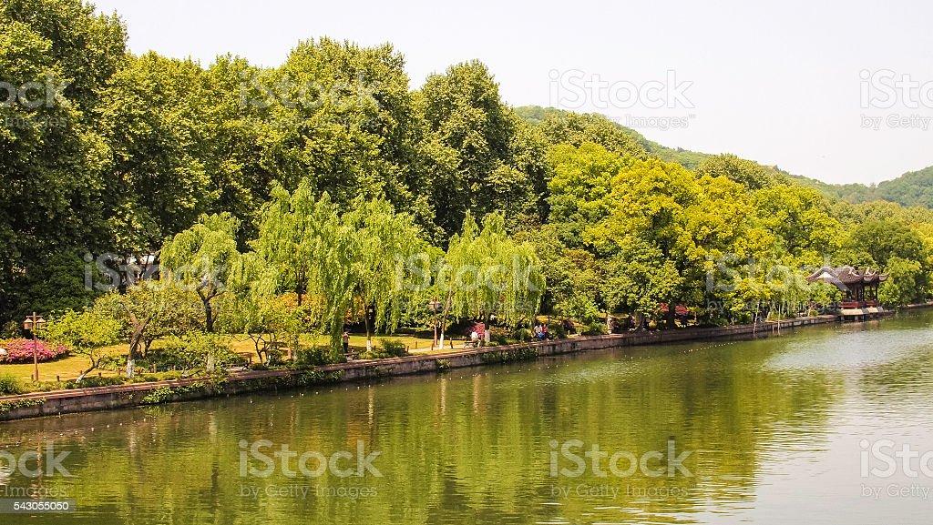 Recreational Park Next to River stock photo