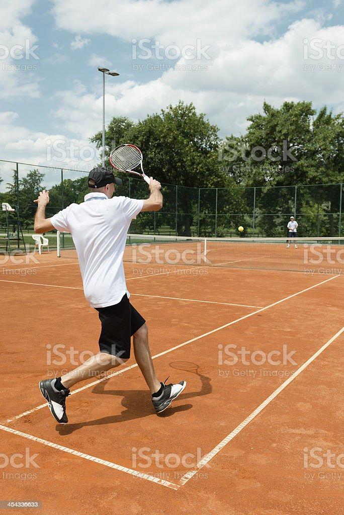 Recreational tennis match stock photo
