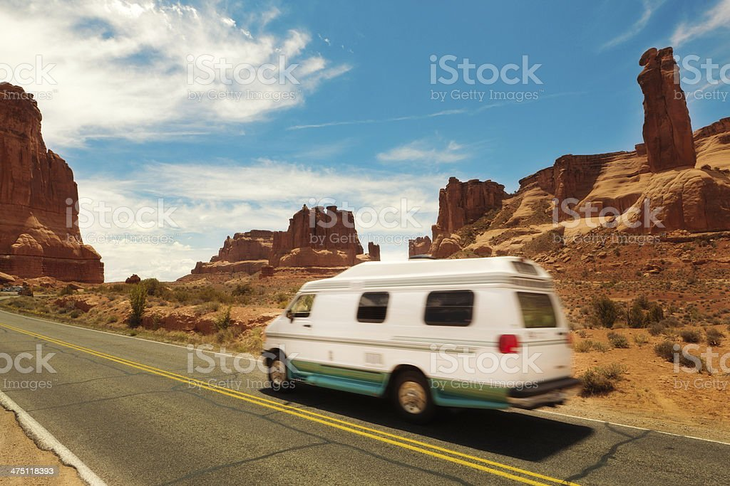 Recreational Vehicle Traveling in Arches National Park Utah USA royalty-free stock photo