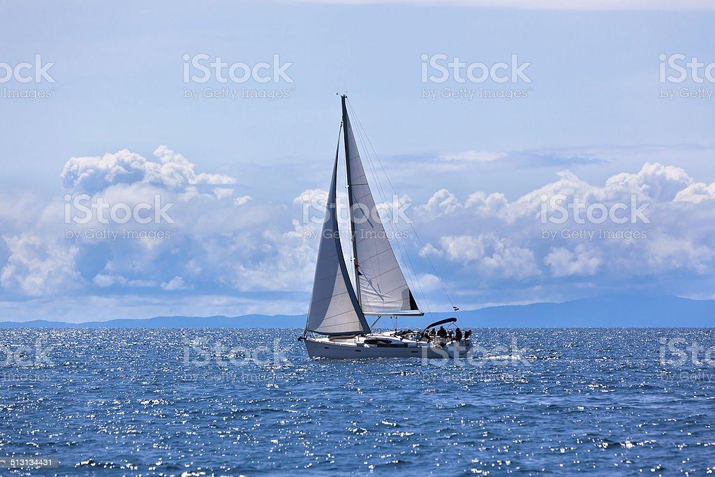 Recreational Yacht at Adriatic Sea stock photo
