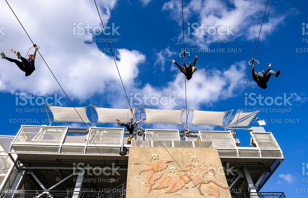 Recreational Zip Line Near Naiagara Falls stock photo