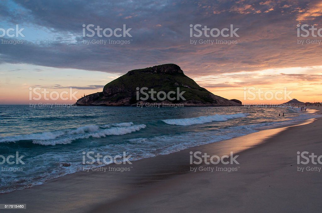 Recreio Beach by Sunset stock photo