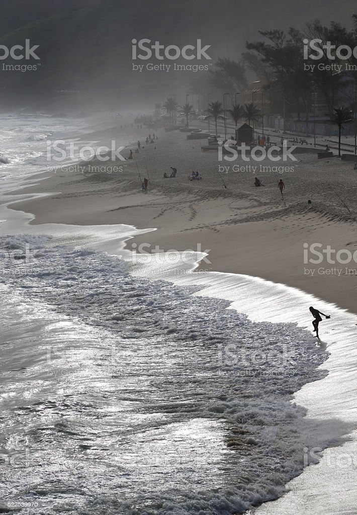 Recreio dos Bandeirantes beach in silver light stock photo