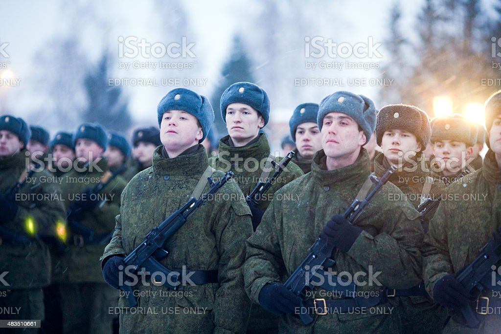 Recruit on the oath stock photo