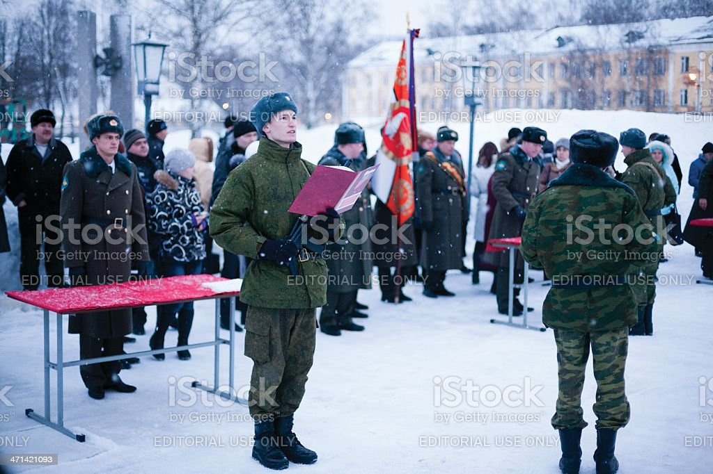 Recruit read text of the oath royalty-free stock photo