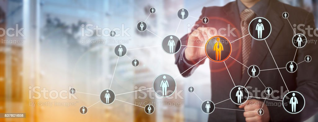 Recruiter Locating Male Candidate In Network stock photo