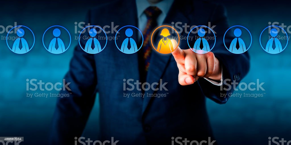 Recruiter Selecting The Only Female Candidate stock photo