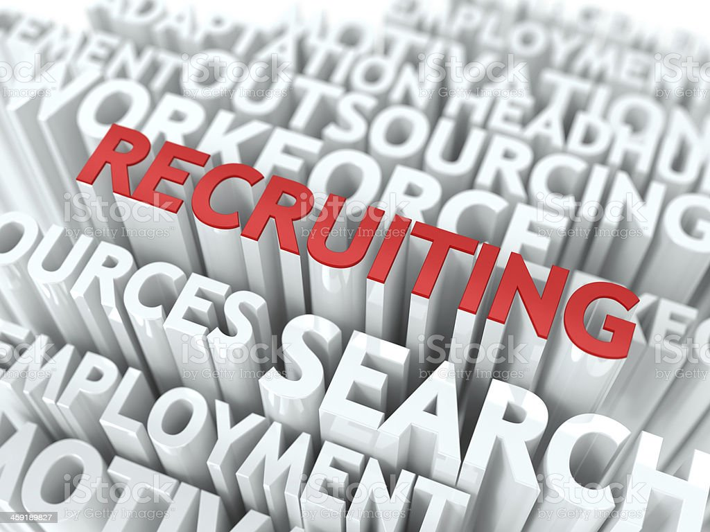 Recruiting - Red Text on White Wordcloud. stock photo