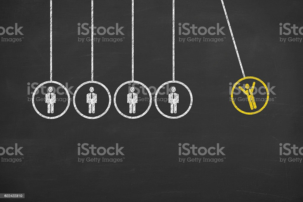 Recruitment Innovation Concept on Chalkboard Background stock photo