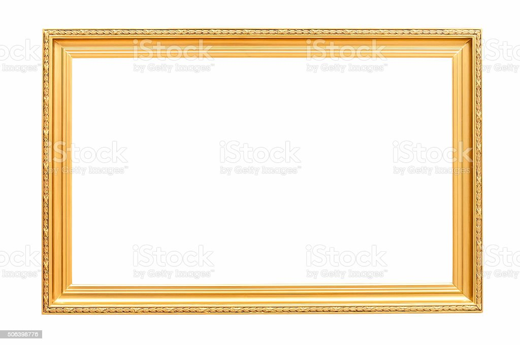 Rectangle decorative golden picture frame stock photo