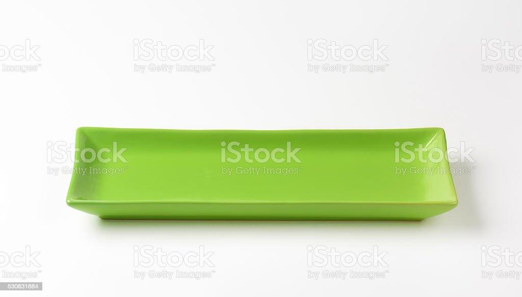 Rectangle green ceramic platter stock photo