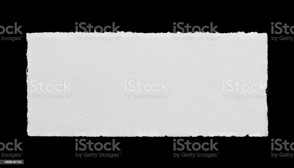 A rectangle of paper with ripped edges stock photo