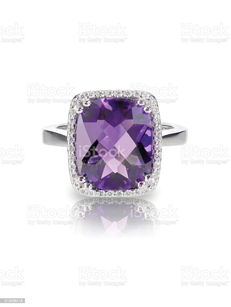 Rectangle purple amethyst cushion cut diamond halo fashion engagement ring. stock photo