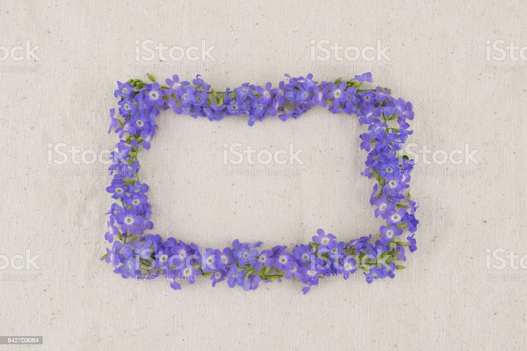 Rectangle purple flowers wreath of Duranta erecta L. stock photo