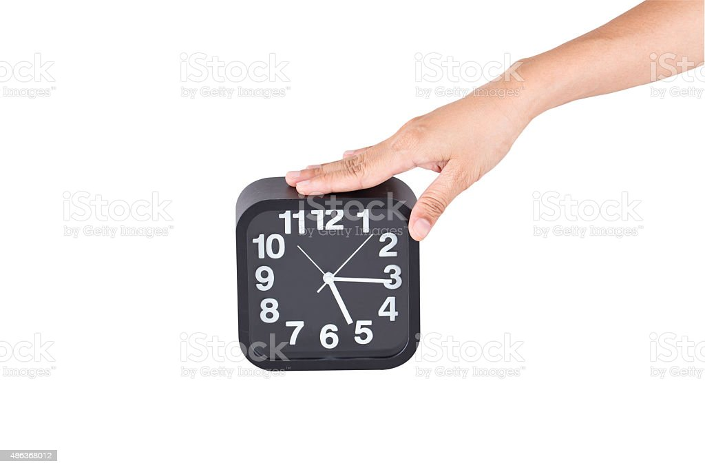 rectangle shaped clock black color on white background. stock photo