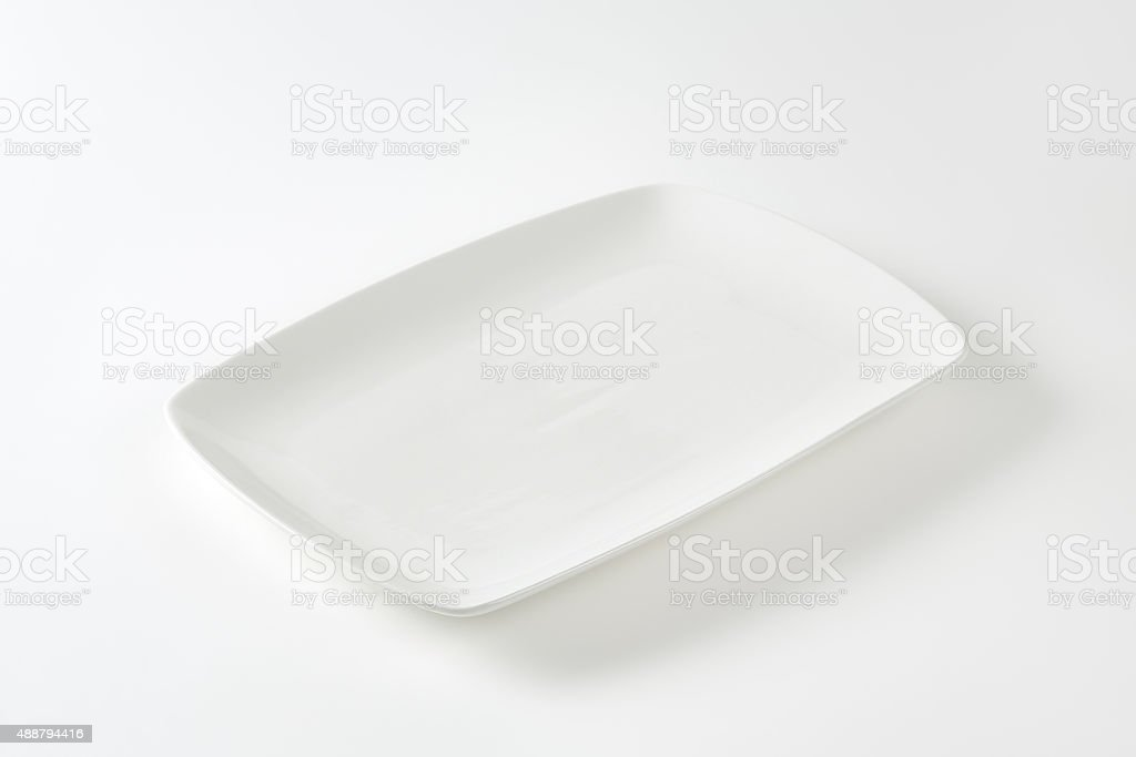 Rectangle white porcelain plate stock photo