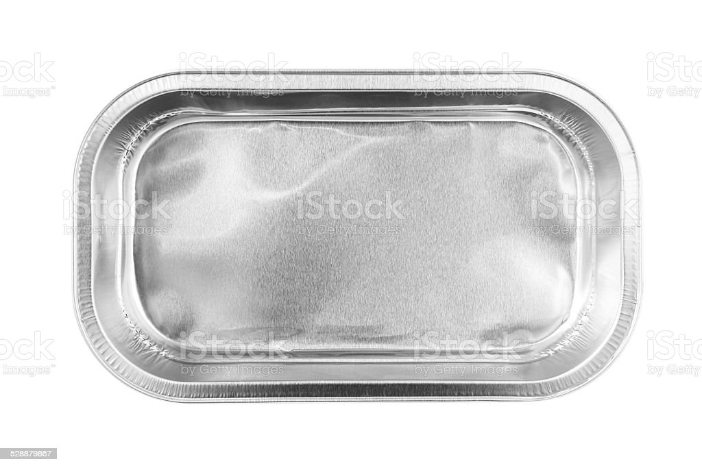 Rectangular Aluminum Foil Tray top view isolated on white background stock photo