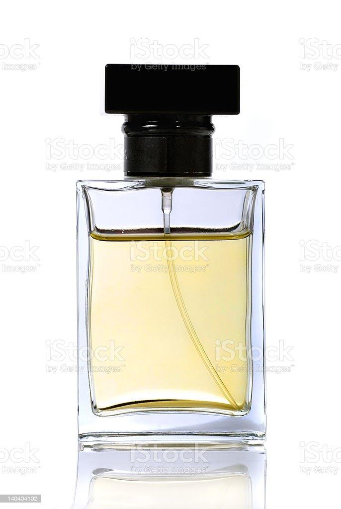 Rectangular bottle of perfume on white background stock photo