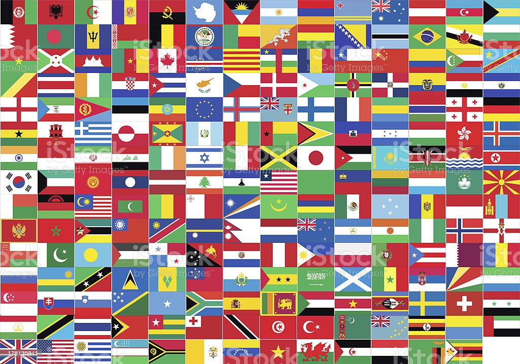 Rectangular collage of the world's flags stock photo