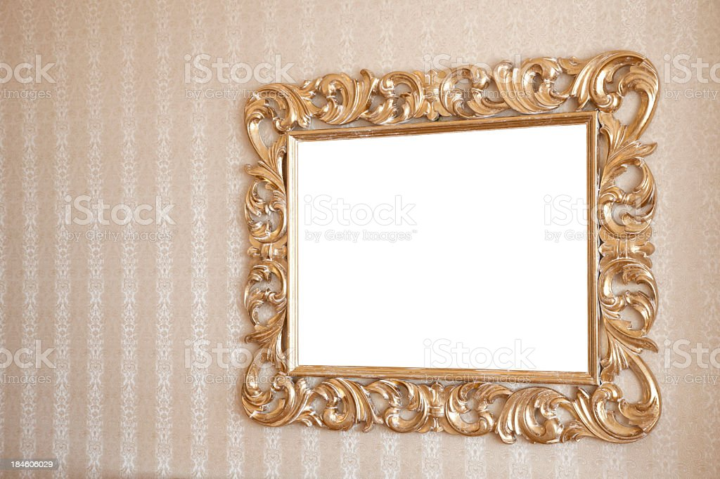 A rectangular mirror on the wall stock photo